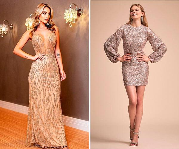 vestidos de festa dourados