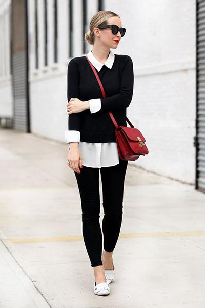 Look sobreposição suéter e camisa social