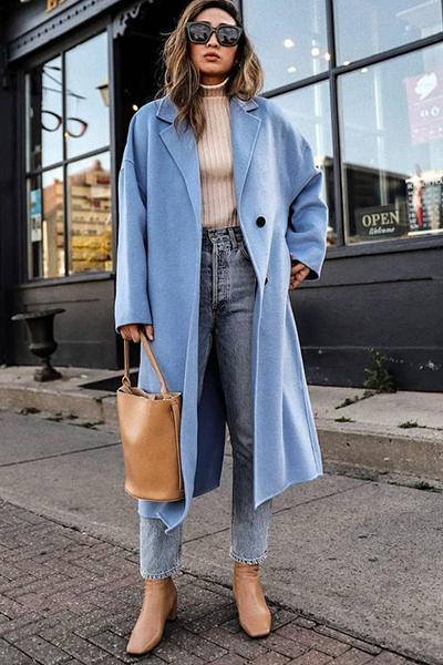 Look trench coat azul