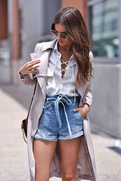 Look casual com short jeans clochard