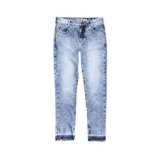 Calça Feminina Em Jeans Cropped Marmorizado