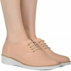 Sapato oxford nude verniz