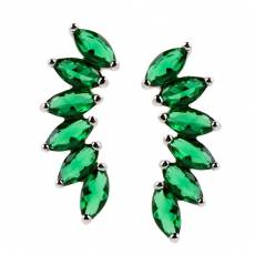 Brinco de Prata Cristais Verde Esmeralda