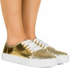 Tênis Espelhado Glitter Ouro
