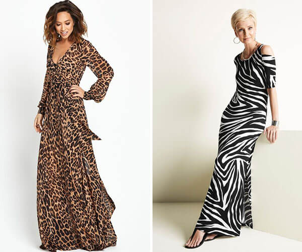 vestidos longos com estampa animal print