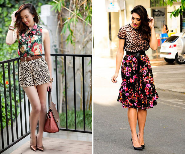 mix de estampas animal print e floral