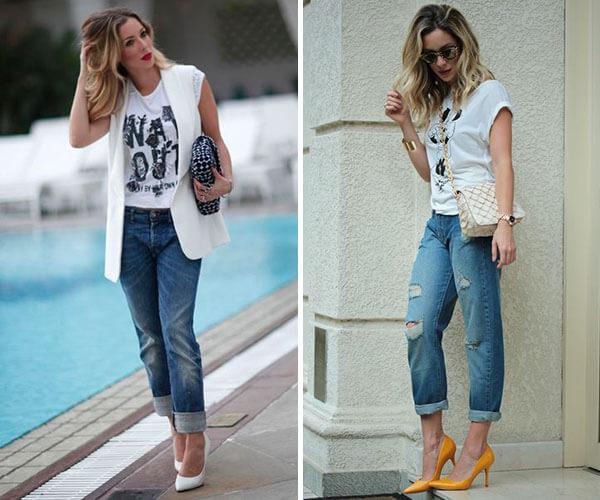 scarpin com jeans de lavagem