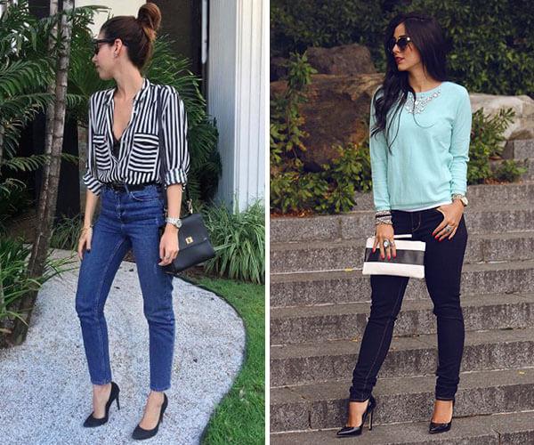 scarpin com jeans escuro