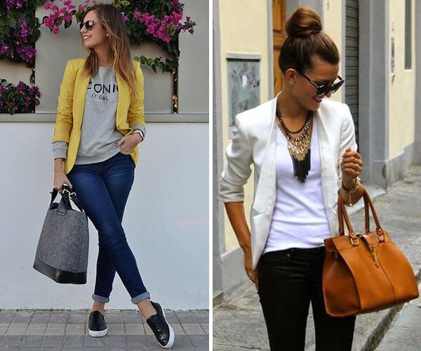 1ced8a865e A combinação do blazer com jeans também pode deixar seu look de trabalho  super interessante e estiloso. Para um dia mais casual