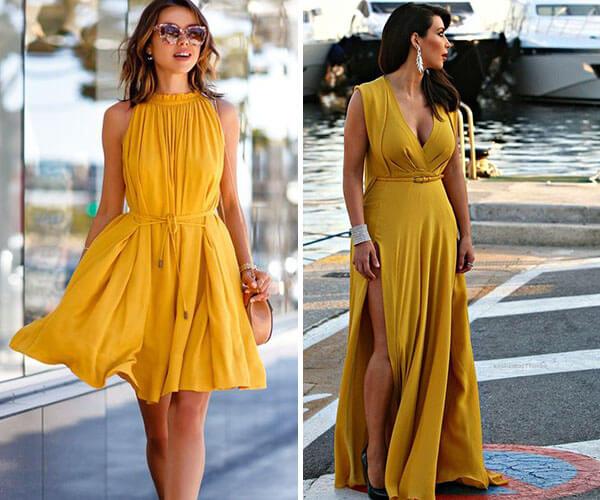 vestido amarelo ocre