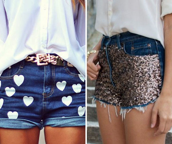 short jeans estampado